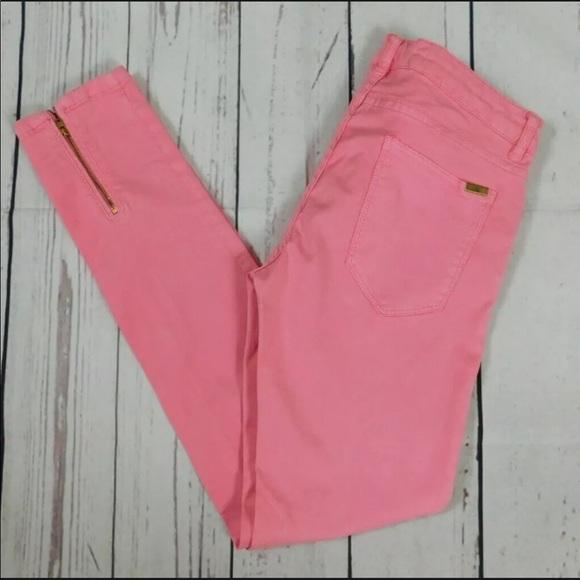 Zara pink zip ankle skinny jeans - size 6